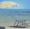 [Beach chair and umbrella, blue sea]